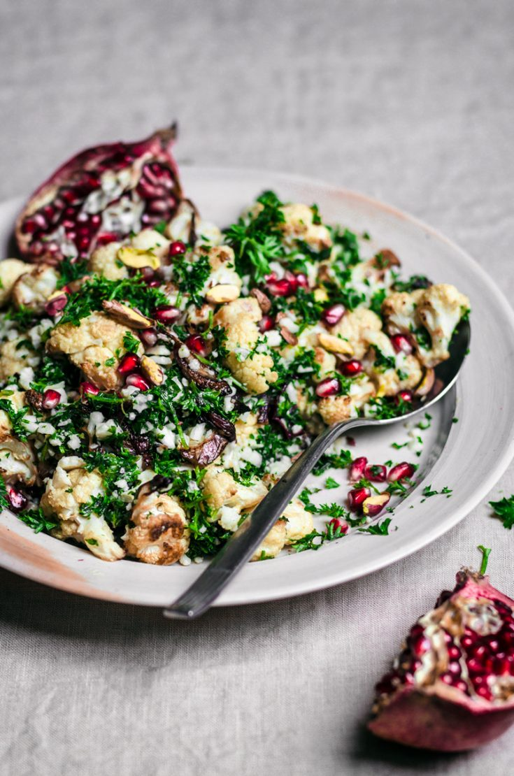 Cauliflower, Pomegranate, and Pistachio Salad