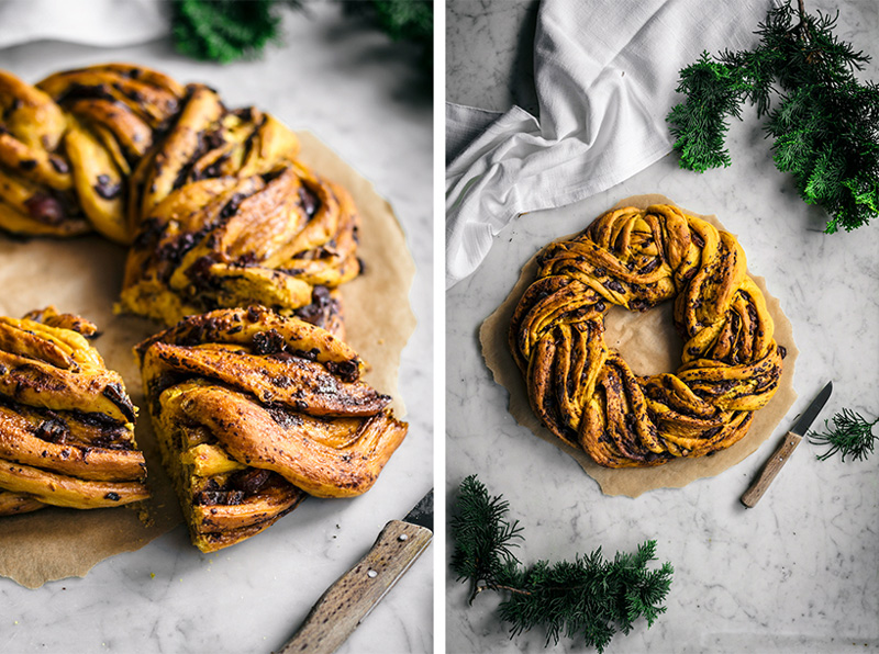 yellow saffron braided wreath bread with chocolate, on marble backdrop, two images side by side.
