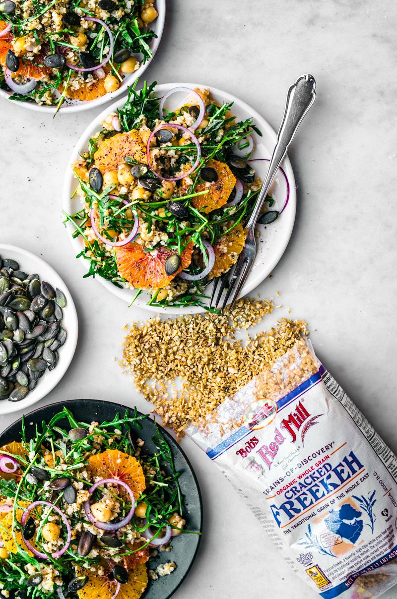 Winter Freekeh Salad with Orange | occasionallyeggs.com #healthy #winterrecipes #veganrecipes