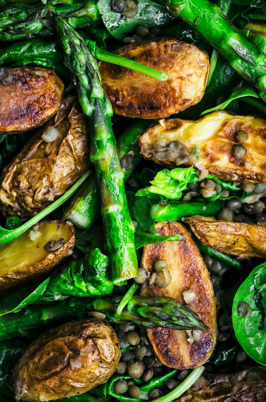Close up of roasted potato asparagus salad.