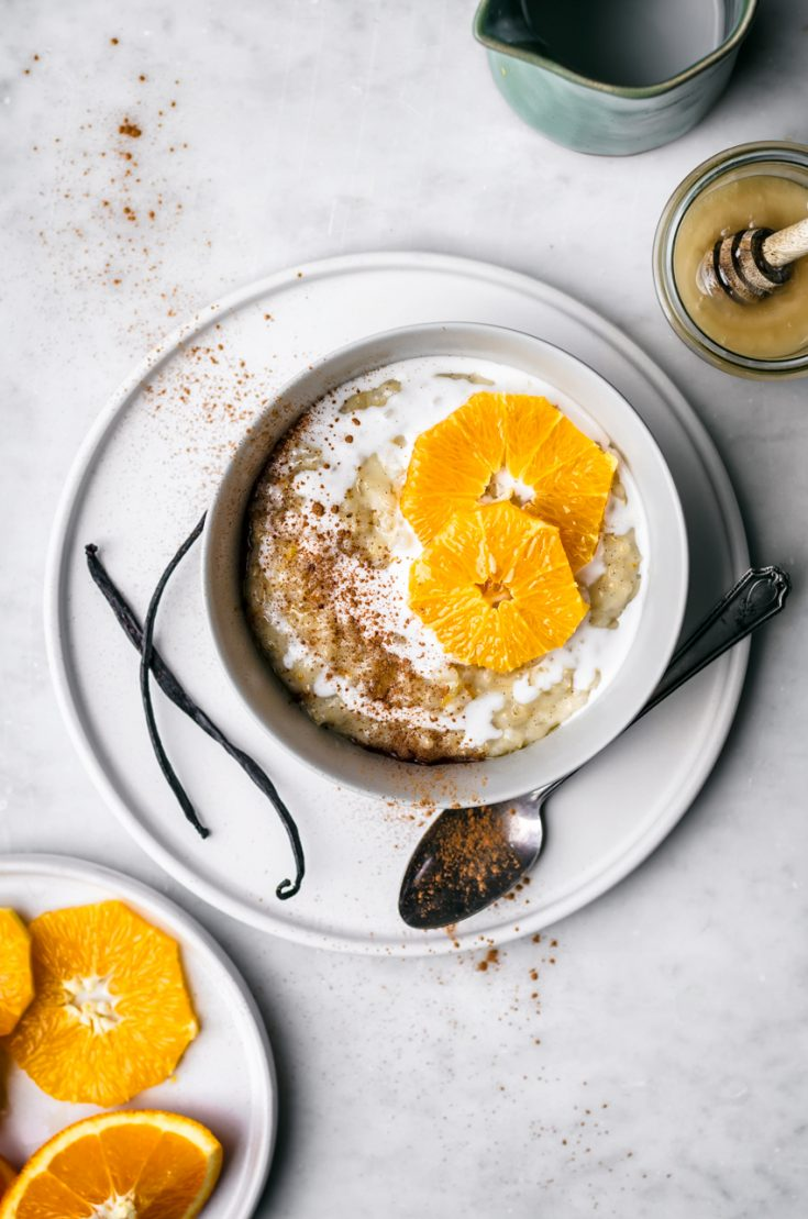 Orange Vanilla Brown Rice Pudding