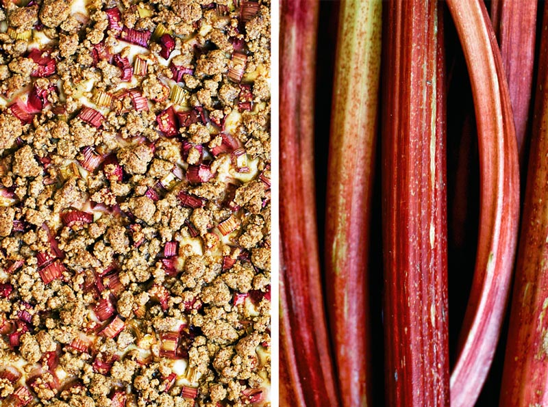 Left shows a close up of the crumble topping on a rhubarb cake, and right is several stalks of rhubarb.