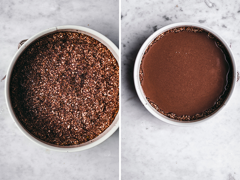 On left: chocolate coconut macaroon pie base in spinrgform pan on marble surface. On right: Filled chocolate ganache tart in springform pan on marble surface.