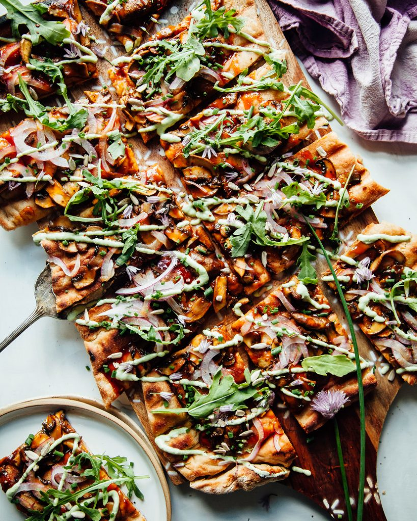 Barbecue mushroom pizza with creamy herb sauce.