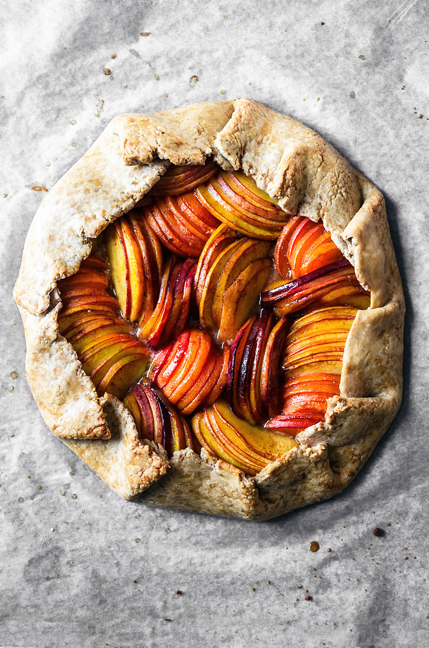 Vegan galette with peaches, apricots, and nectarines.