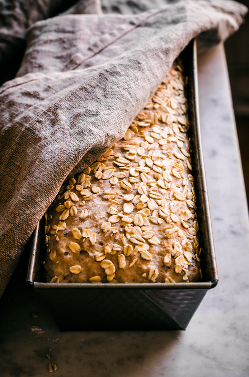 Bread topped with oats rising in loaf tin with linen towel.
