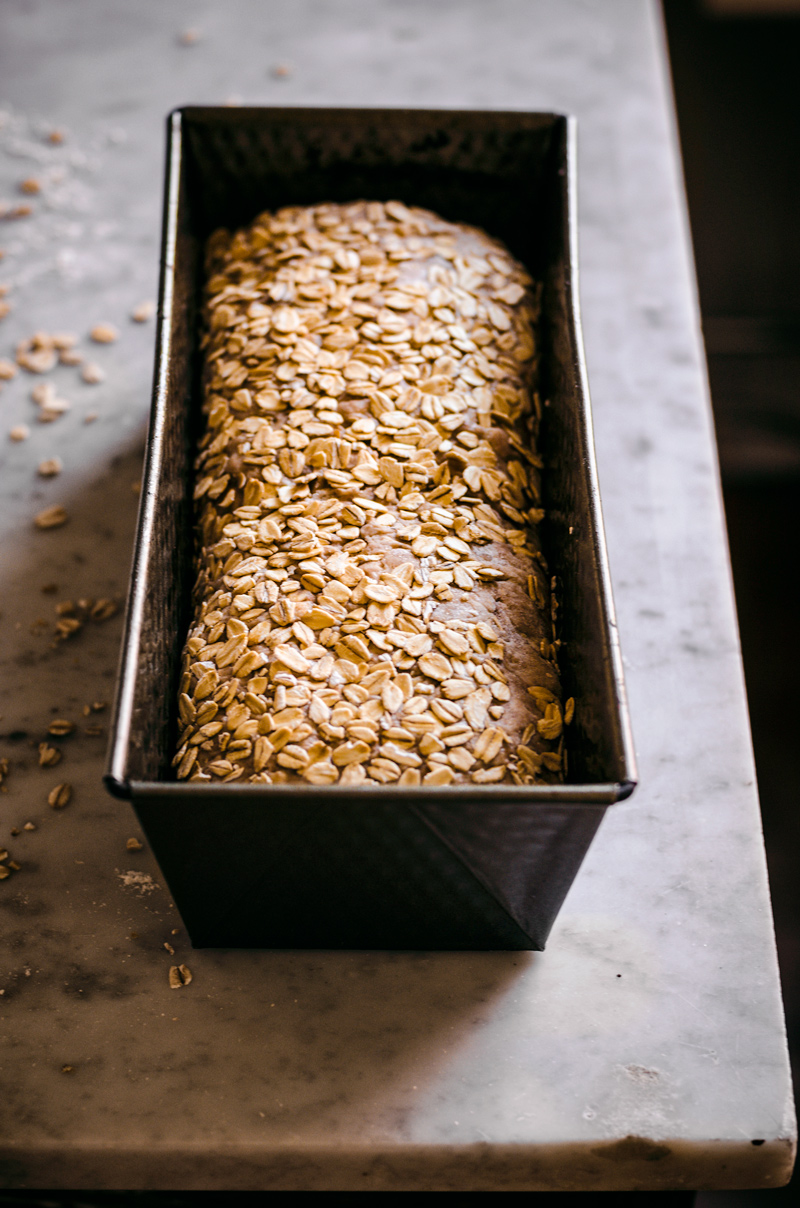 Bread topped with oats rising in loaf tin.