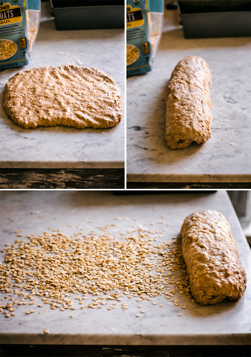 Collage of bread dough being rolled out and coated in oats.