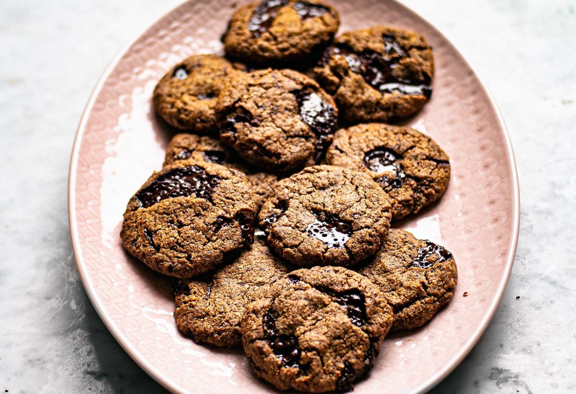 A platter of almond flour chocolate chunk cookies.