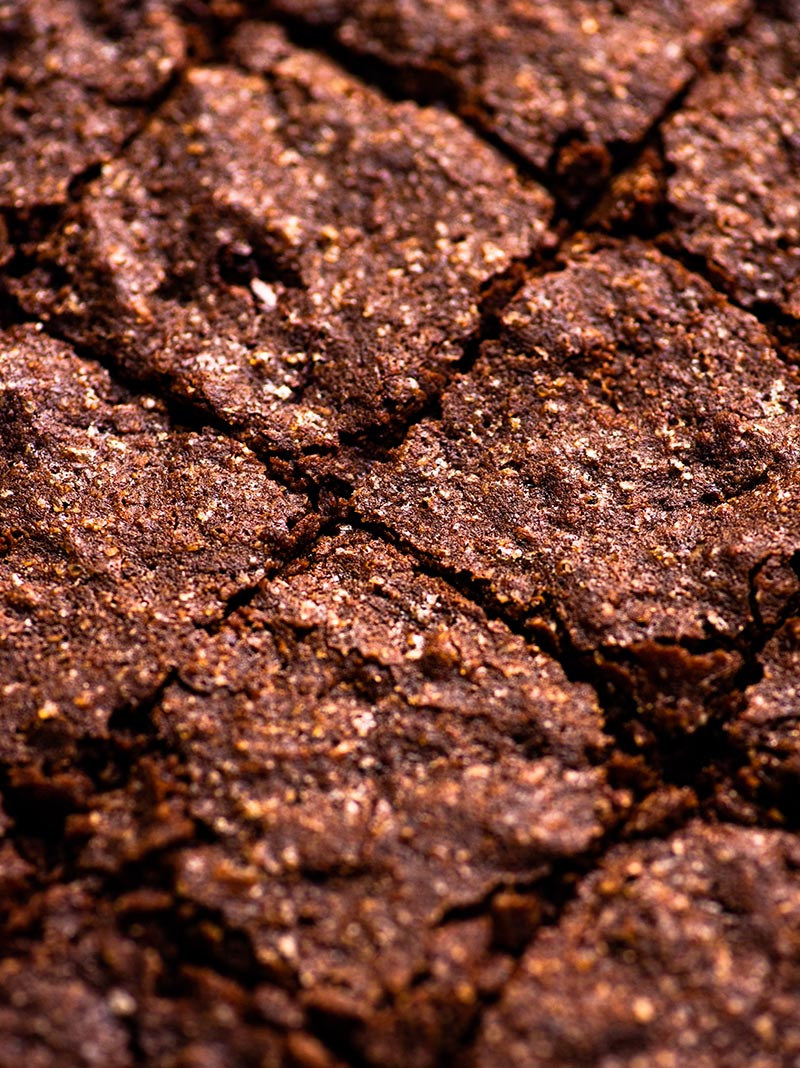 A close up of sliced brownies.