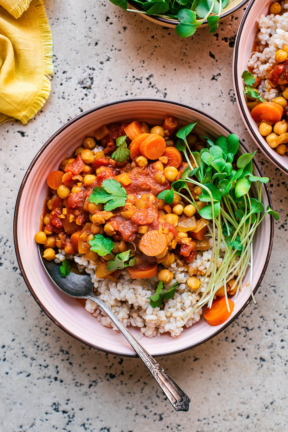 Chickpea carrot stew with rice and radish sprouts in a pink bowl.