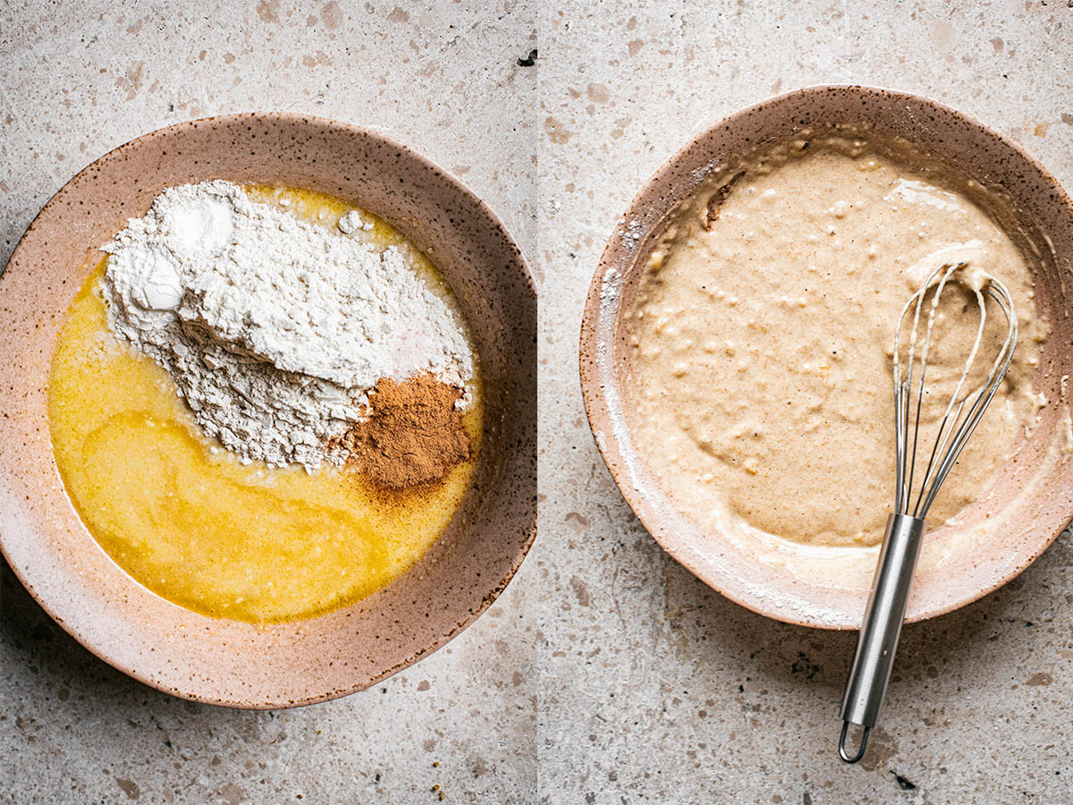 Left: wet mix with flour and other dry ingredients sitting on top. Right: Mixed pancake batter.