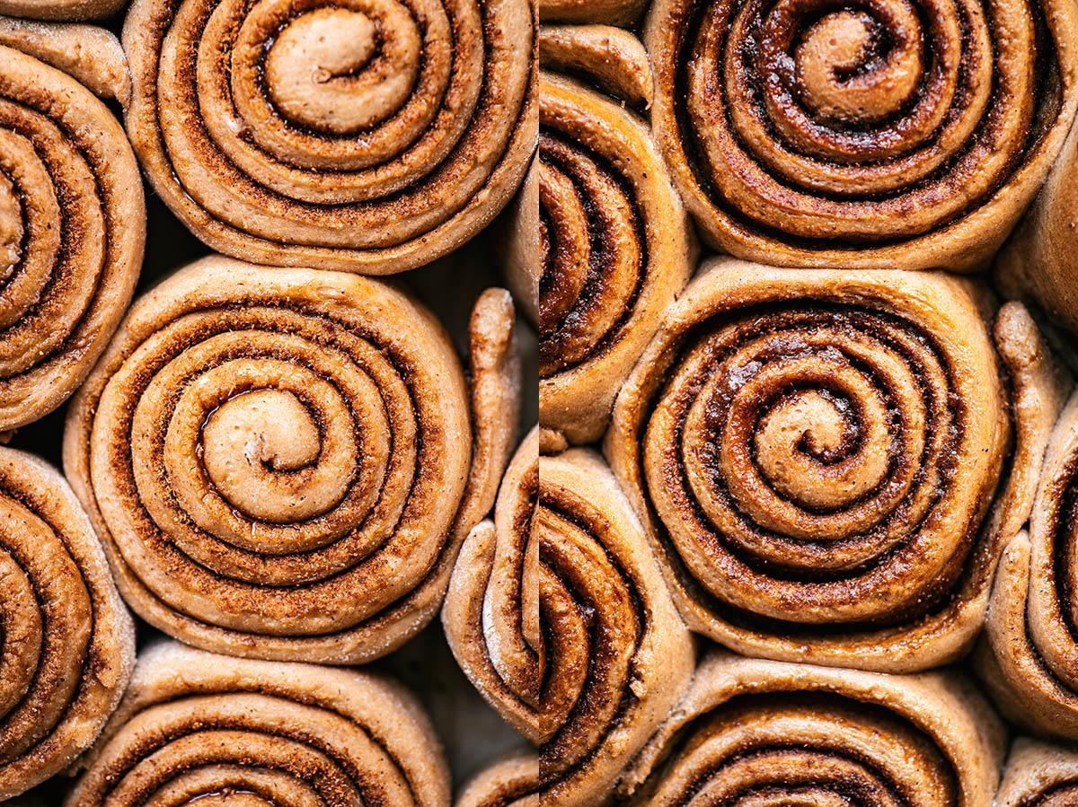 Left, proved but unbaked cinnamon rolls. Right, baked rolls.