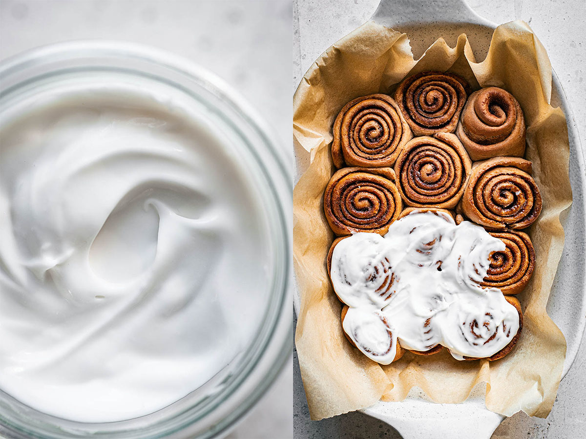 Left, coconut yogurt icing. Right, baked cinnamon rolls half covered in icing.