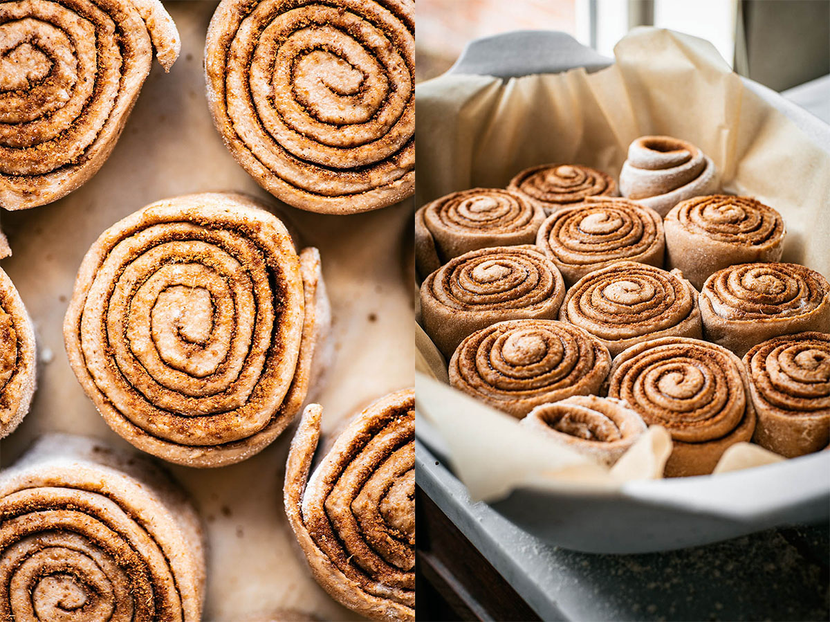 On left, unproved cinnamon rolls from top. Right, proved rolls in baking dish with parchment.