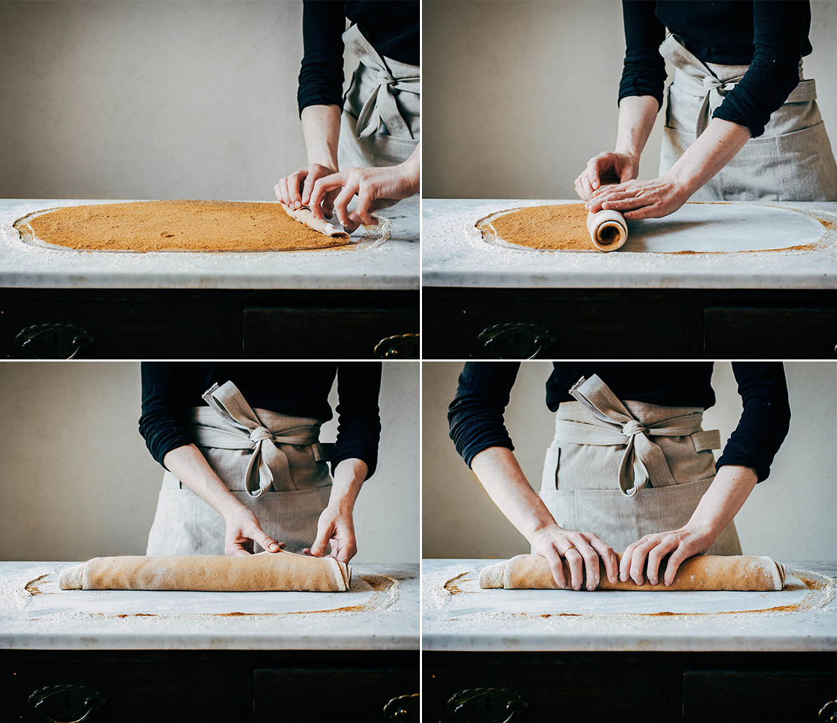 Steps of rolling cinnamon roll dough into a spiral.