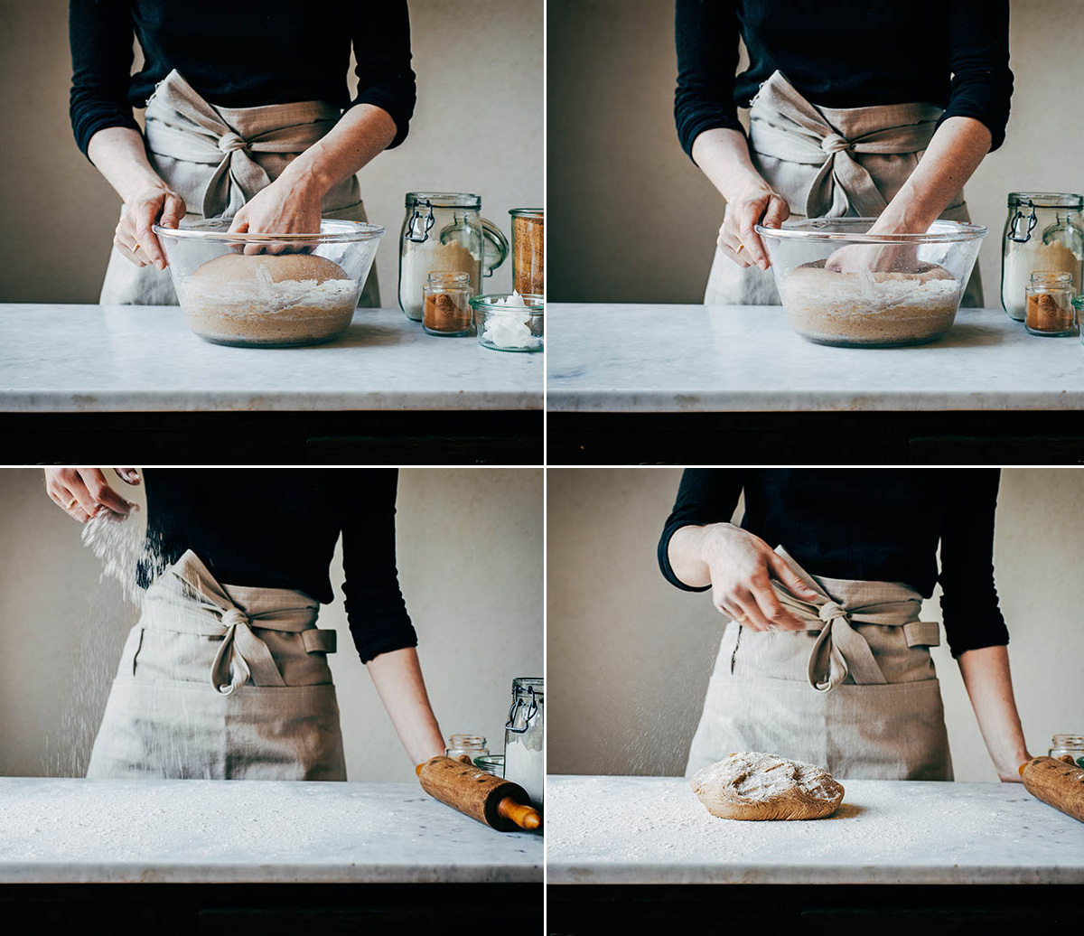 Steps of punching down dough and sprinkling surface and dough with flour before rolling.