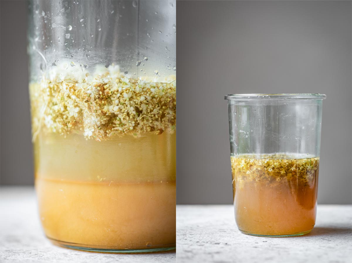 Left: honey, water, and elderflowers in a jar. Right: the same, after being mixed.