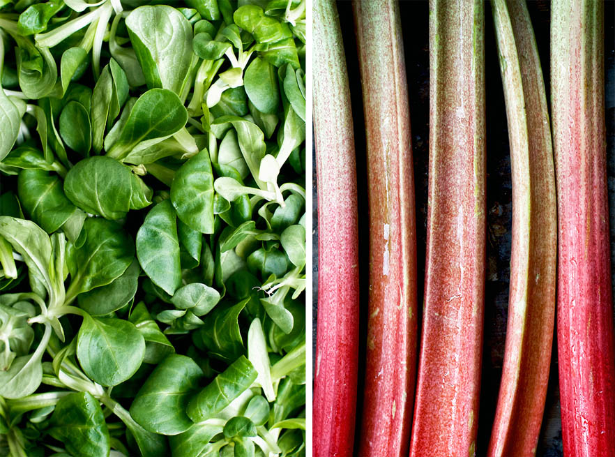 Left side: close up of lamb's lettuce (mâche); right side: close up of fresh rhubarb stalks.