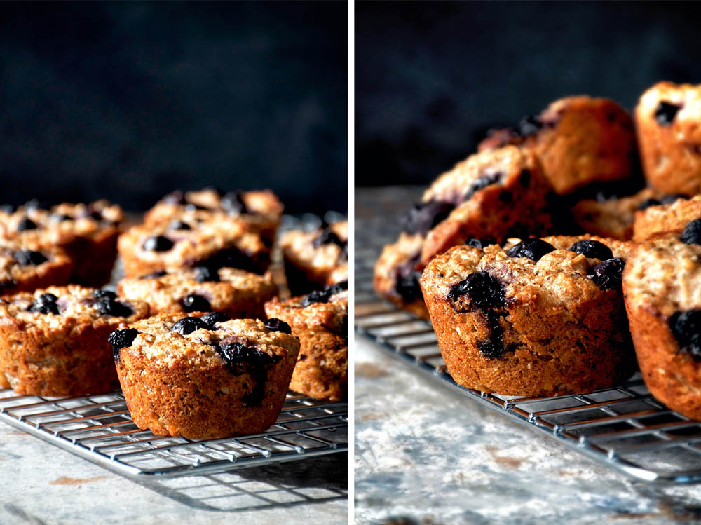 Two images, both of blueberry muffins on a metal cooling rack.