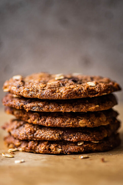 A stack of peanut butter oatmeal cookies, close up.