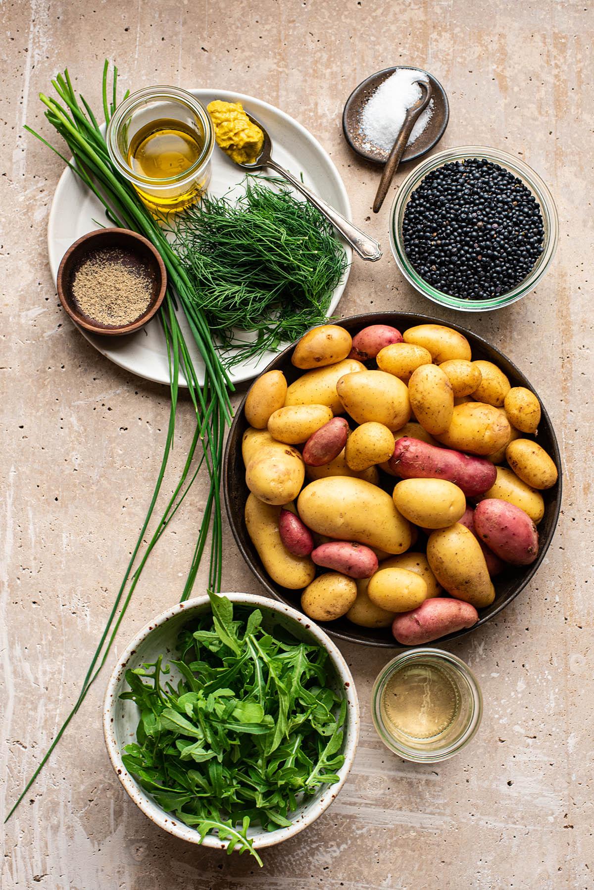 Potato salad ingredients as a flat lay.