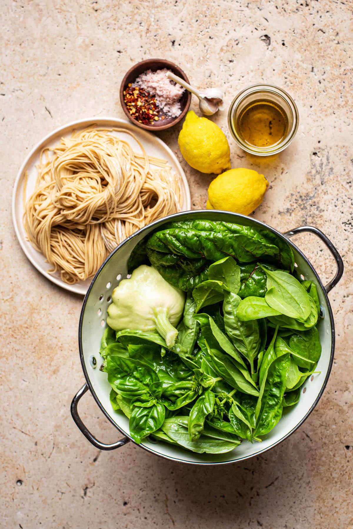 Green pasta ingredients.