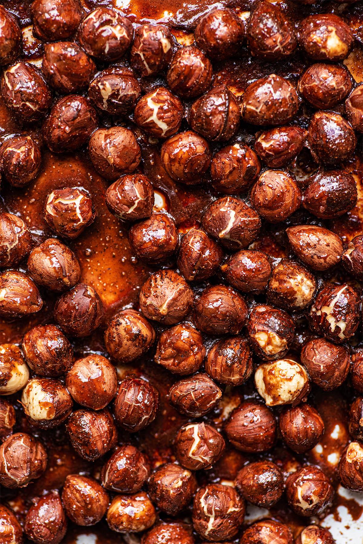 Roasted hazelnuts close up.
