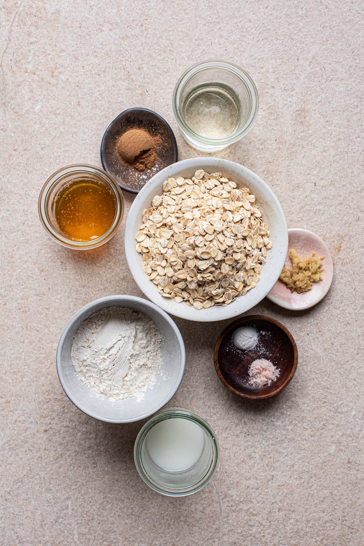 Honey oatmeal cookie ingredients.