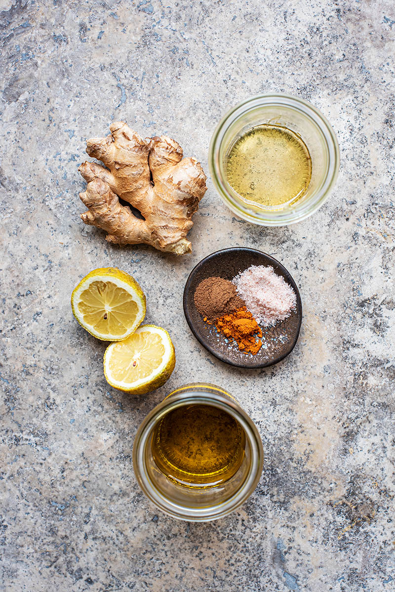 Lemon ginger vinaigrette ingredients.