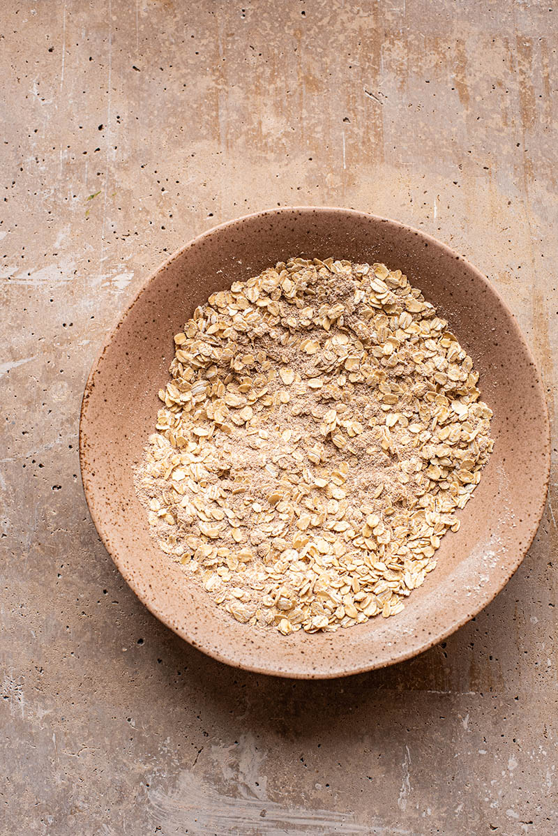 Dry ingredients for crisp topping in a bowl.