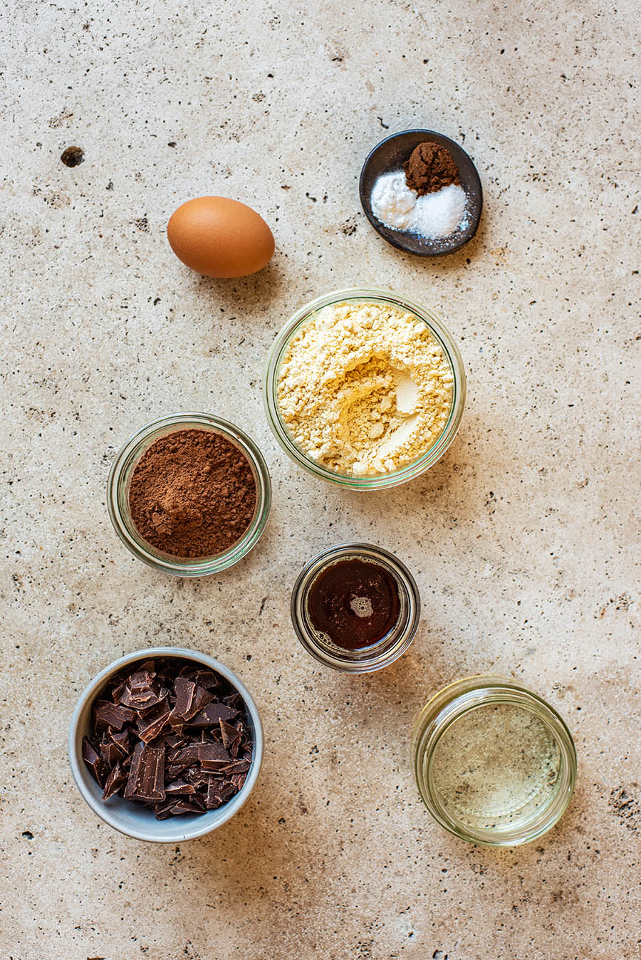 Chocolate chickpea flour cookie ingredients.