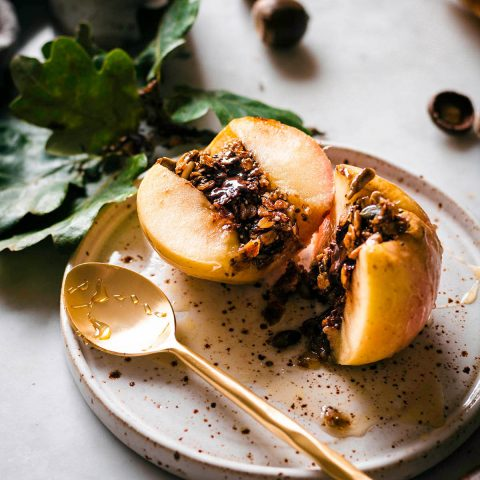 Granola and chocolate stuffed baked apple.