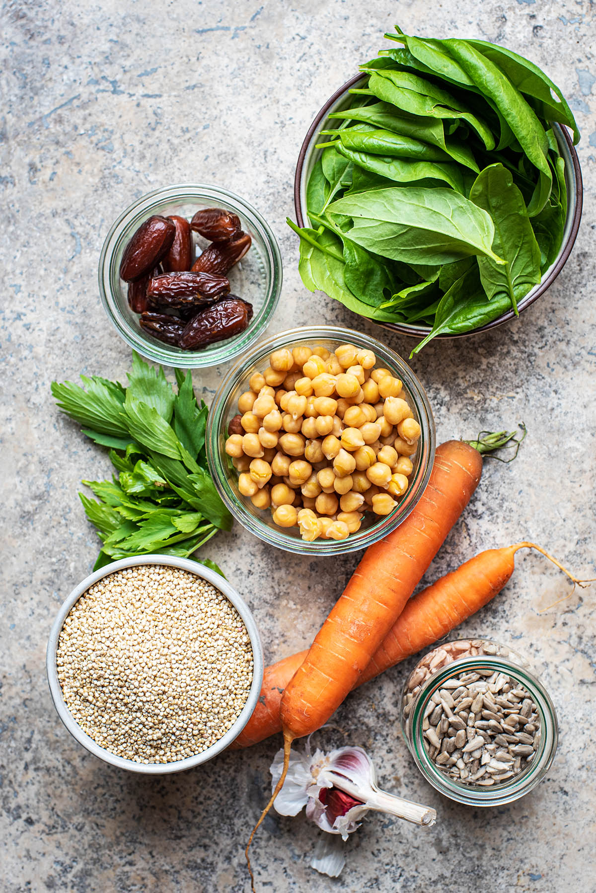 Moroccan carrot salad ingredients.