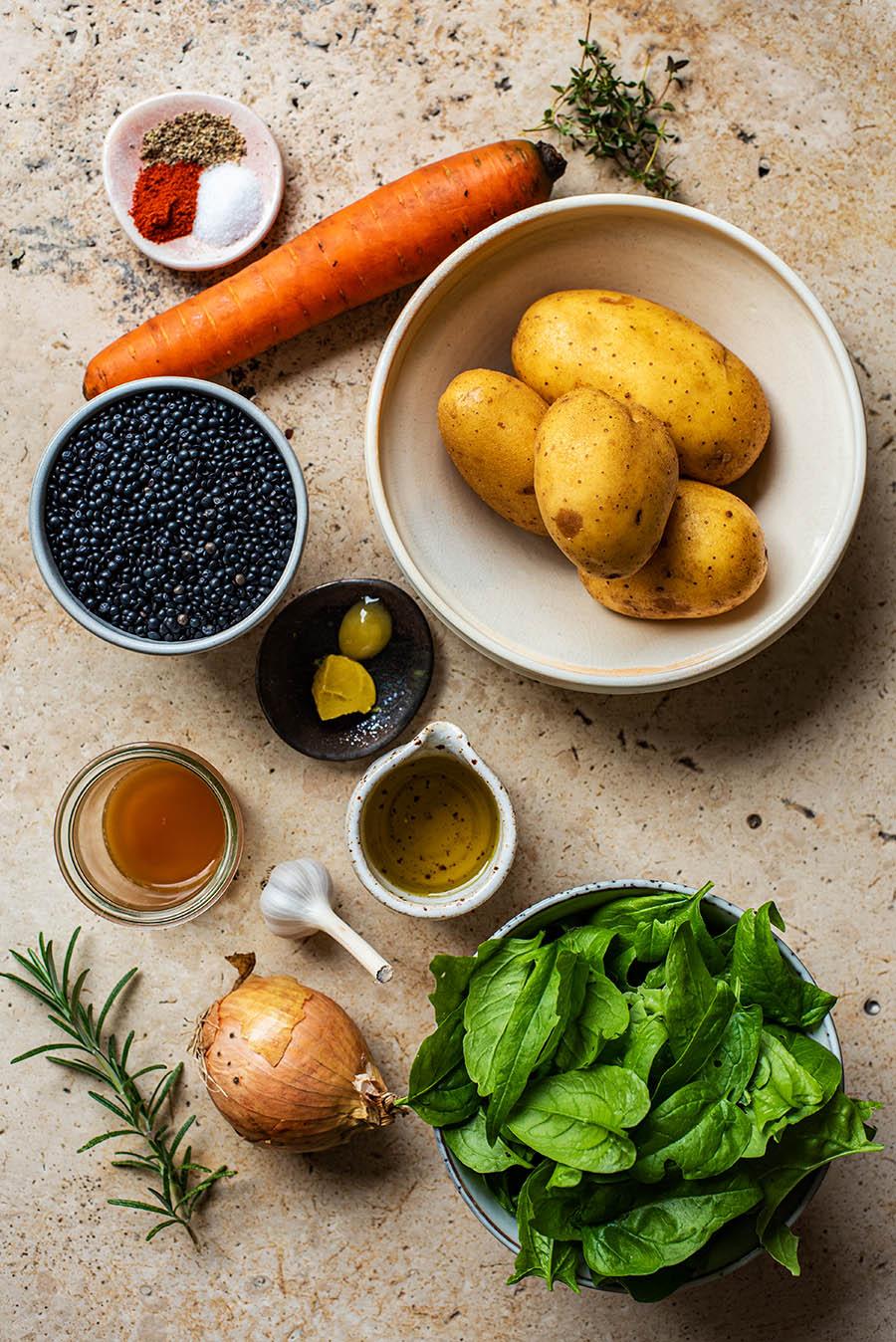 Lentil potato stew ingredients.