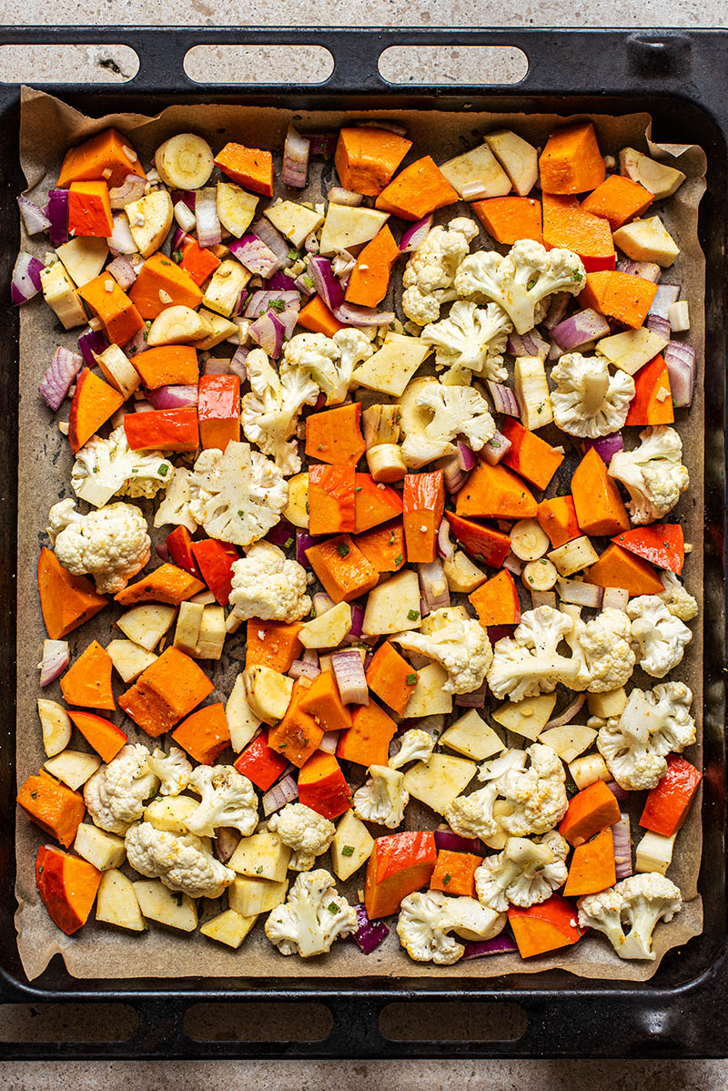 Vegetables before roasting.