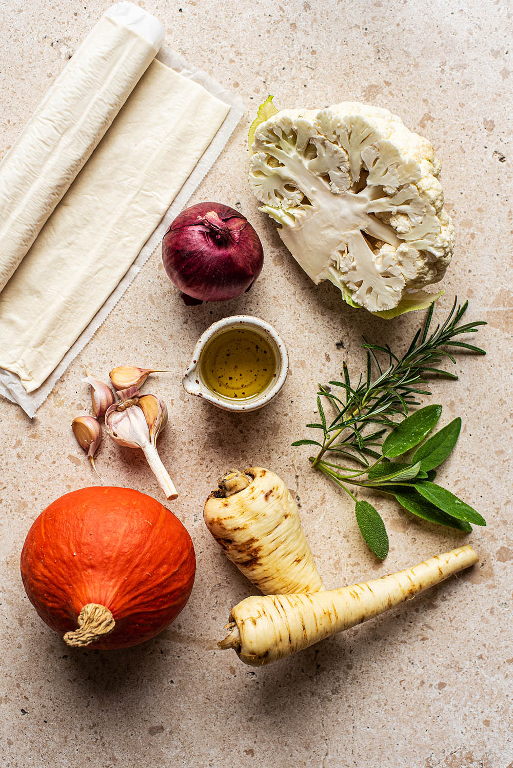 Roasted vegetable pie ingredients.