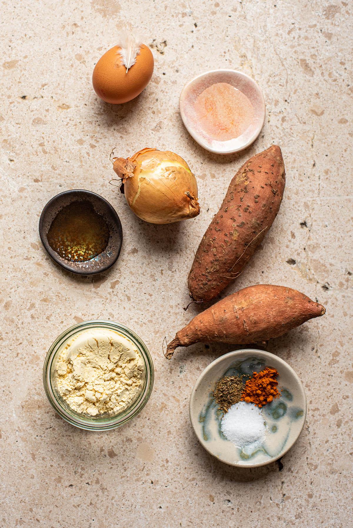 Sweet potato latke ingredients.
