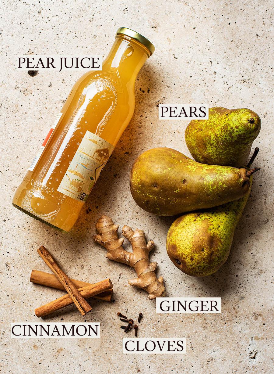 Pear cider ingredients.