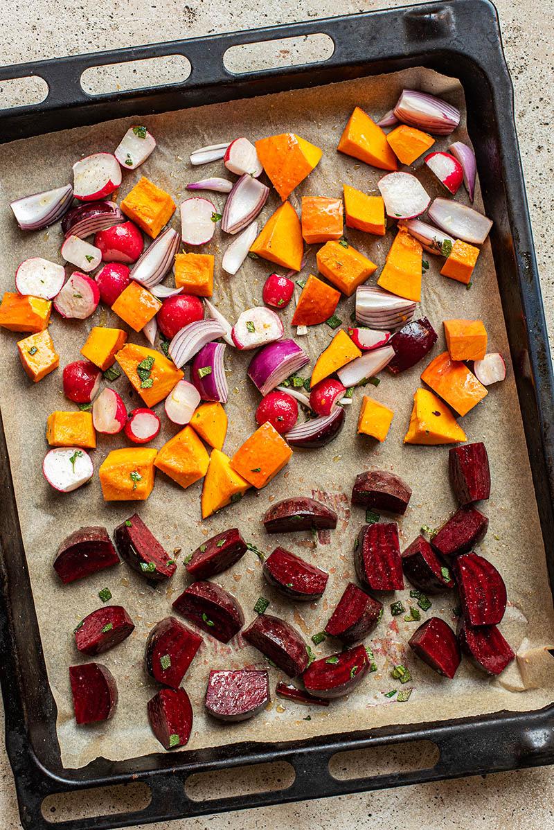 Vegetables before roasting.