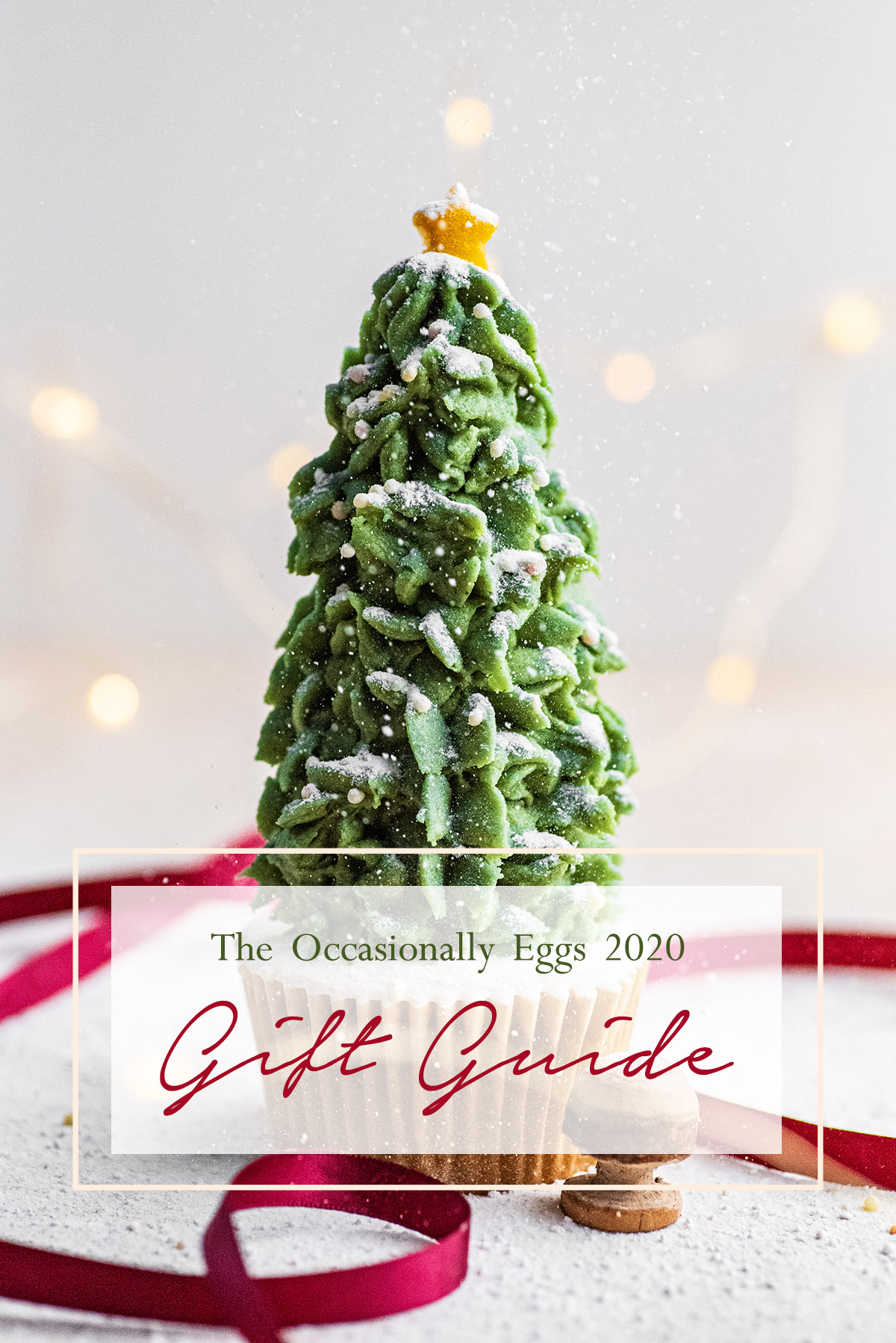 """A buttercream tree cupcake with text overlay stating """"The Occasionally Eggs 2020 Gift Guide""""."""