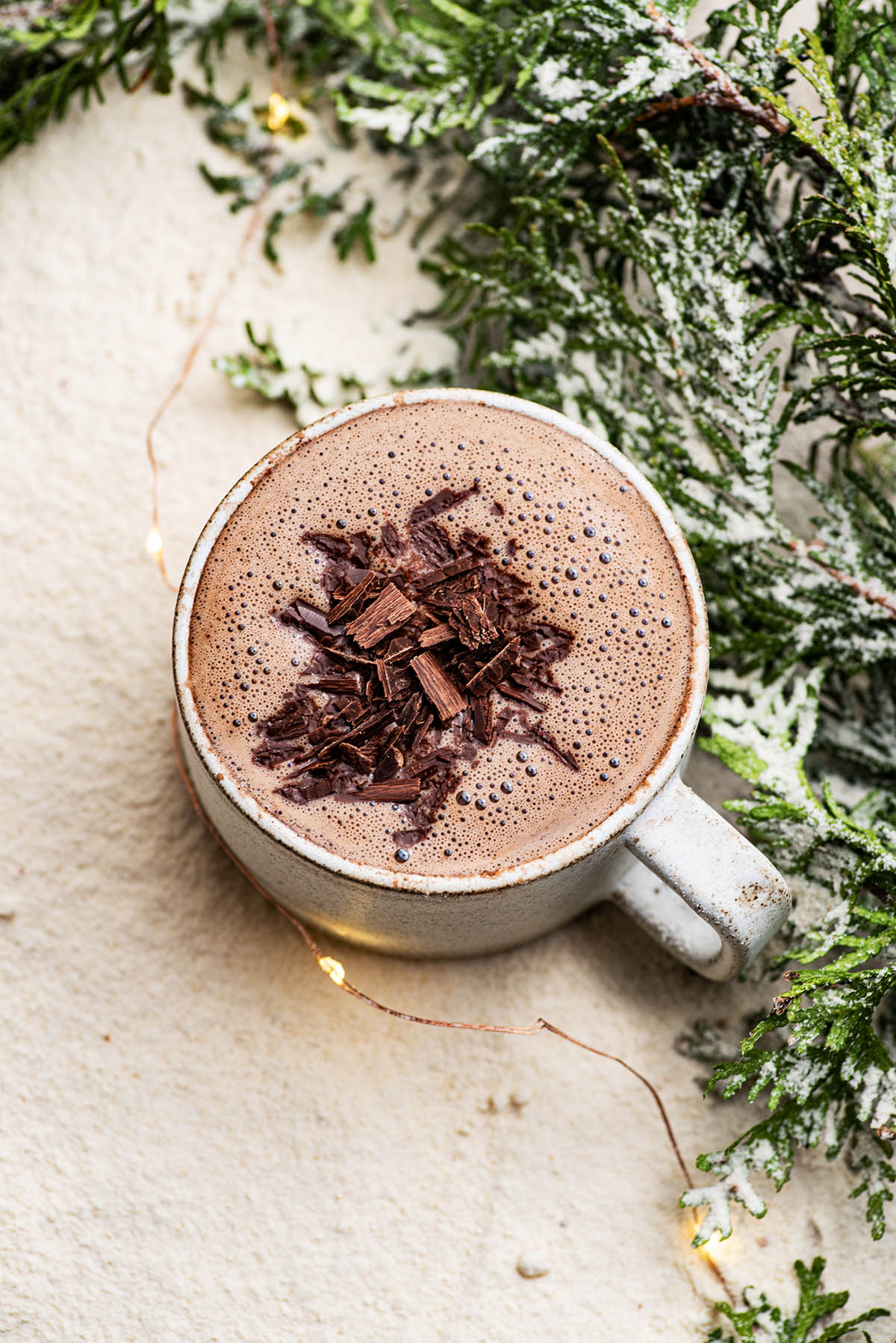 A mug of hot chocolate topped with shaved dark chocolate.