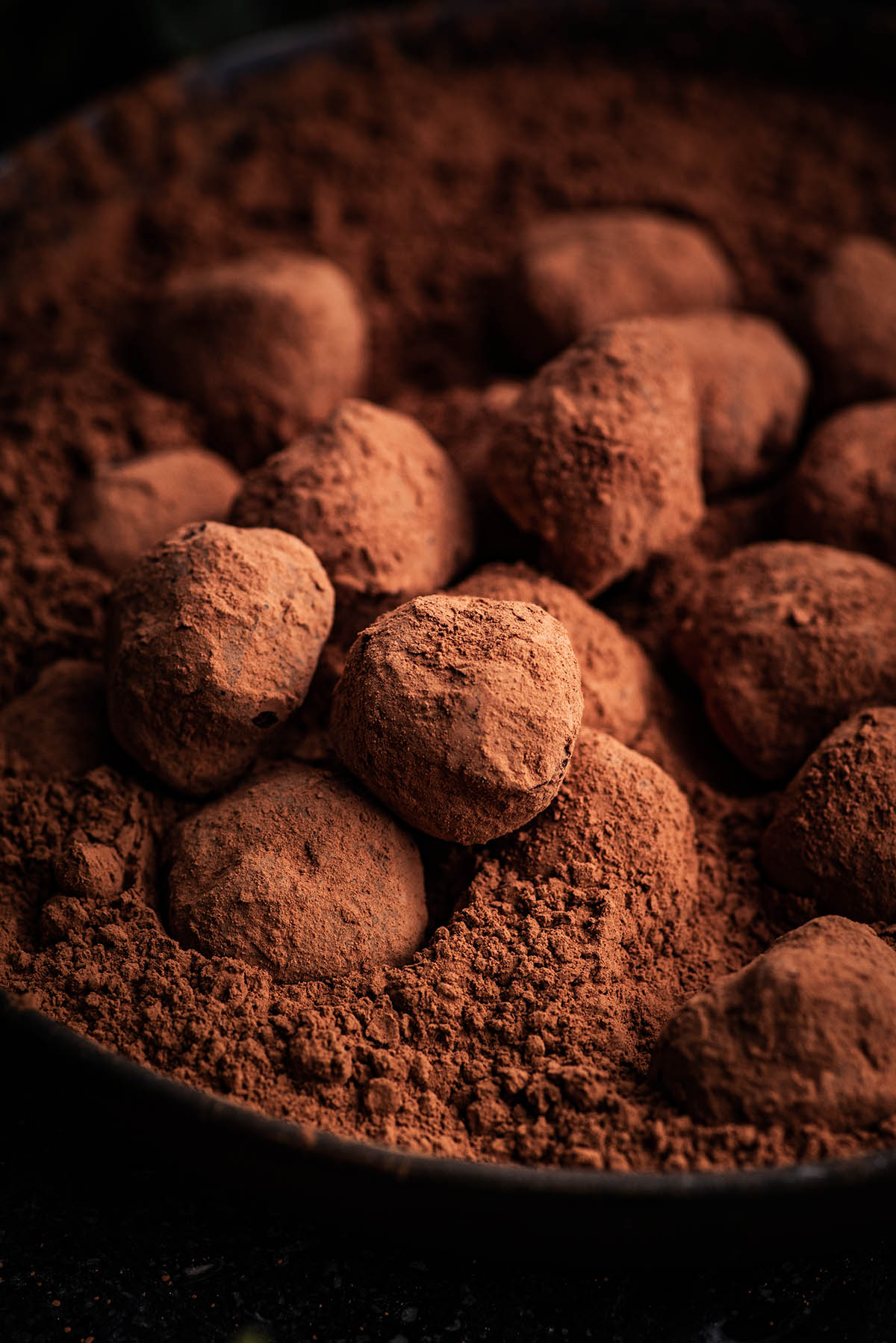 Truffles in a shallow bowl filled with cocoa.