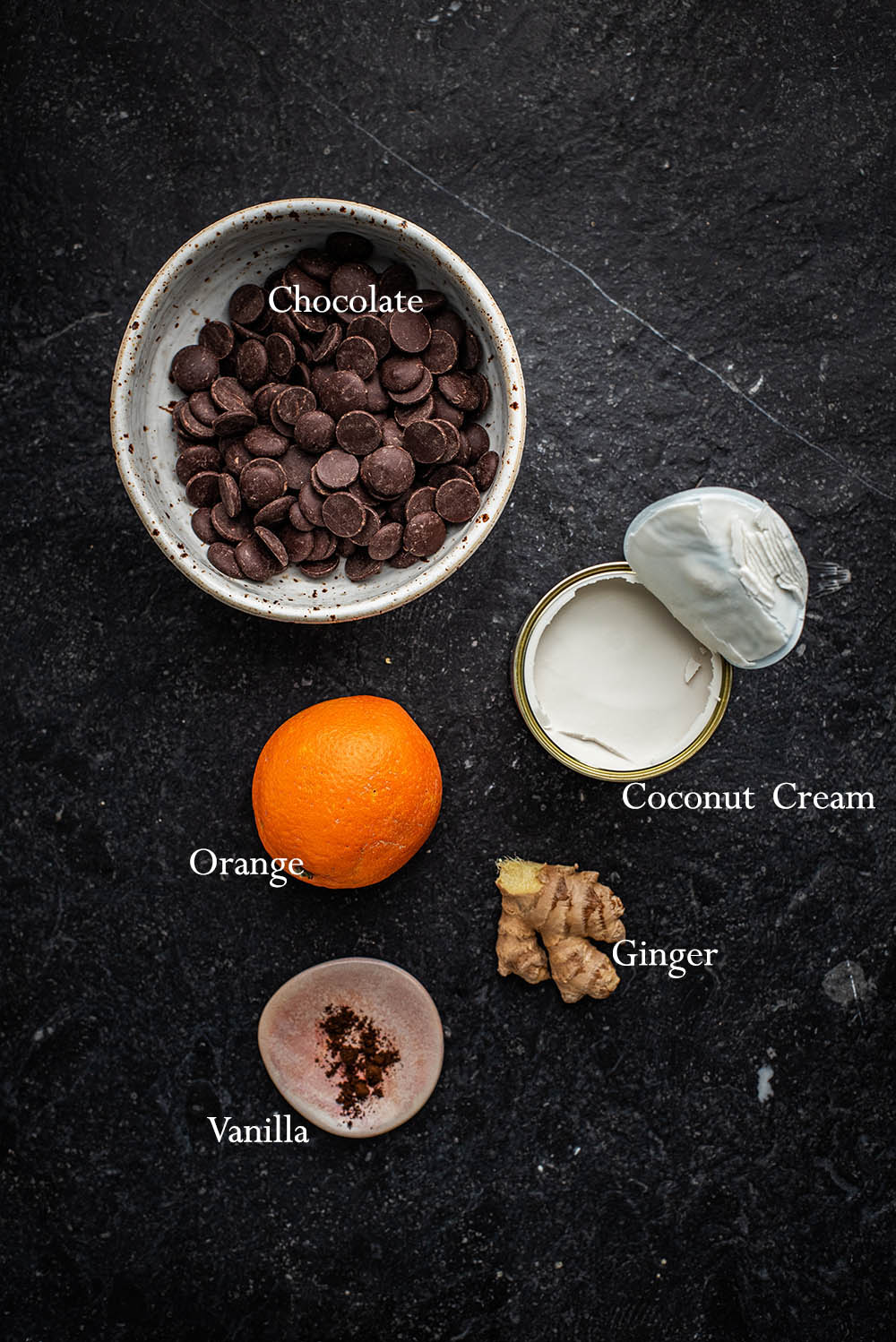 Vegan truffles ingredients.