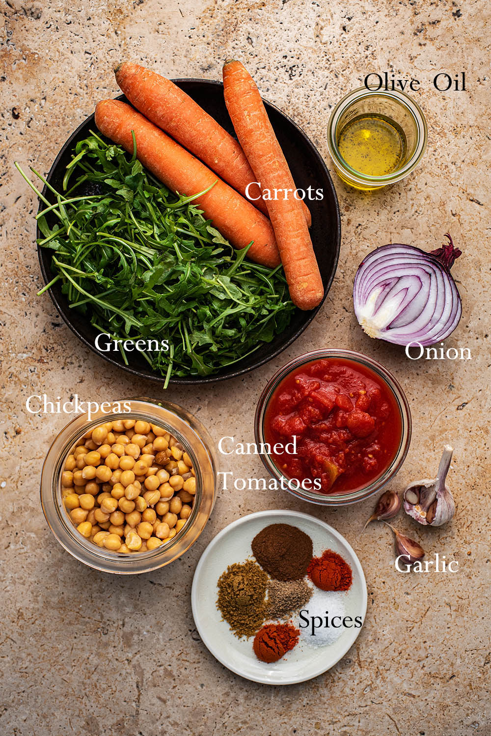 Moroccan Spiced Carrot Chickpea Stew ingredients.