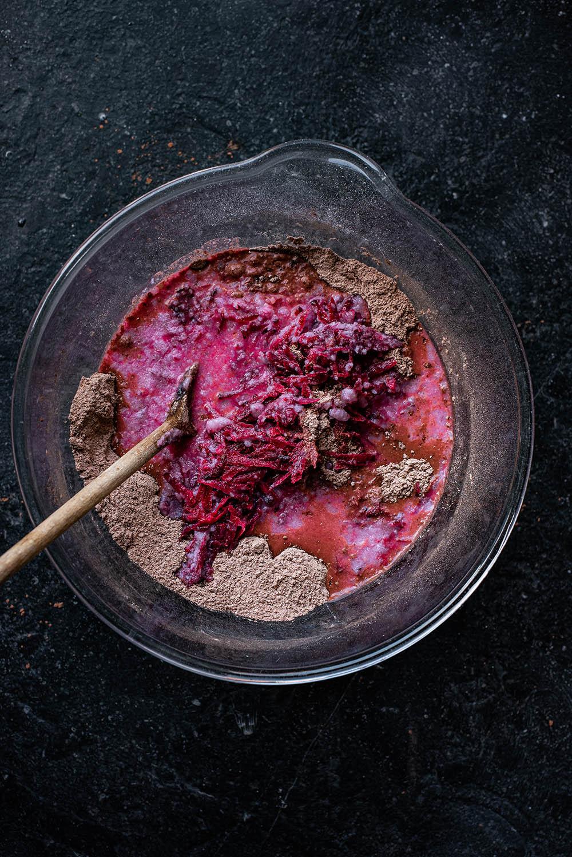 Beet mixture added to dry ingredients.