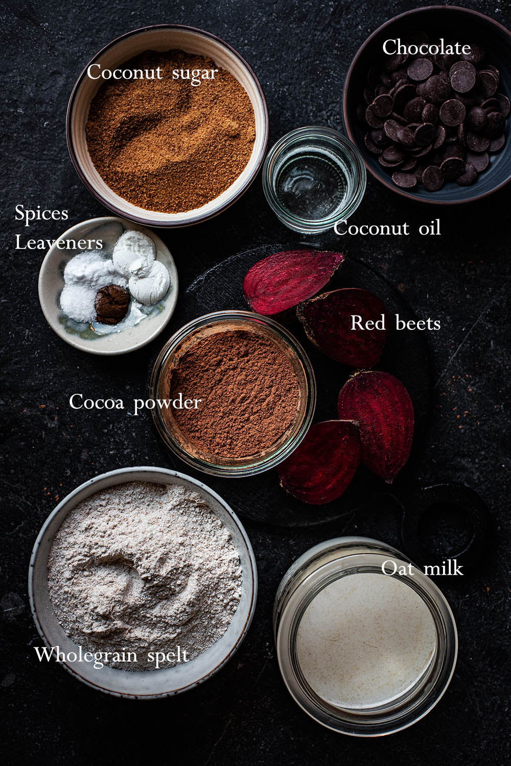 Chocolate beet muffin ingredients.