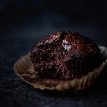 A chocolate muffin with a bite taken out on the muffin liner.