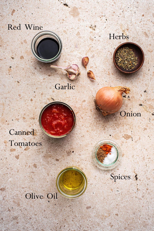 Marinara ingredients.