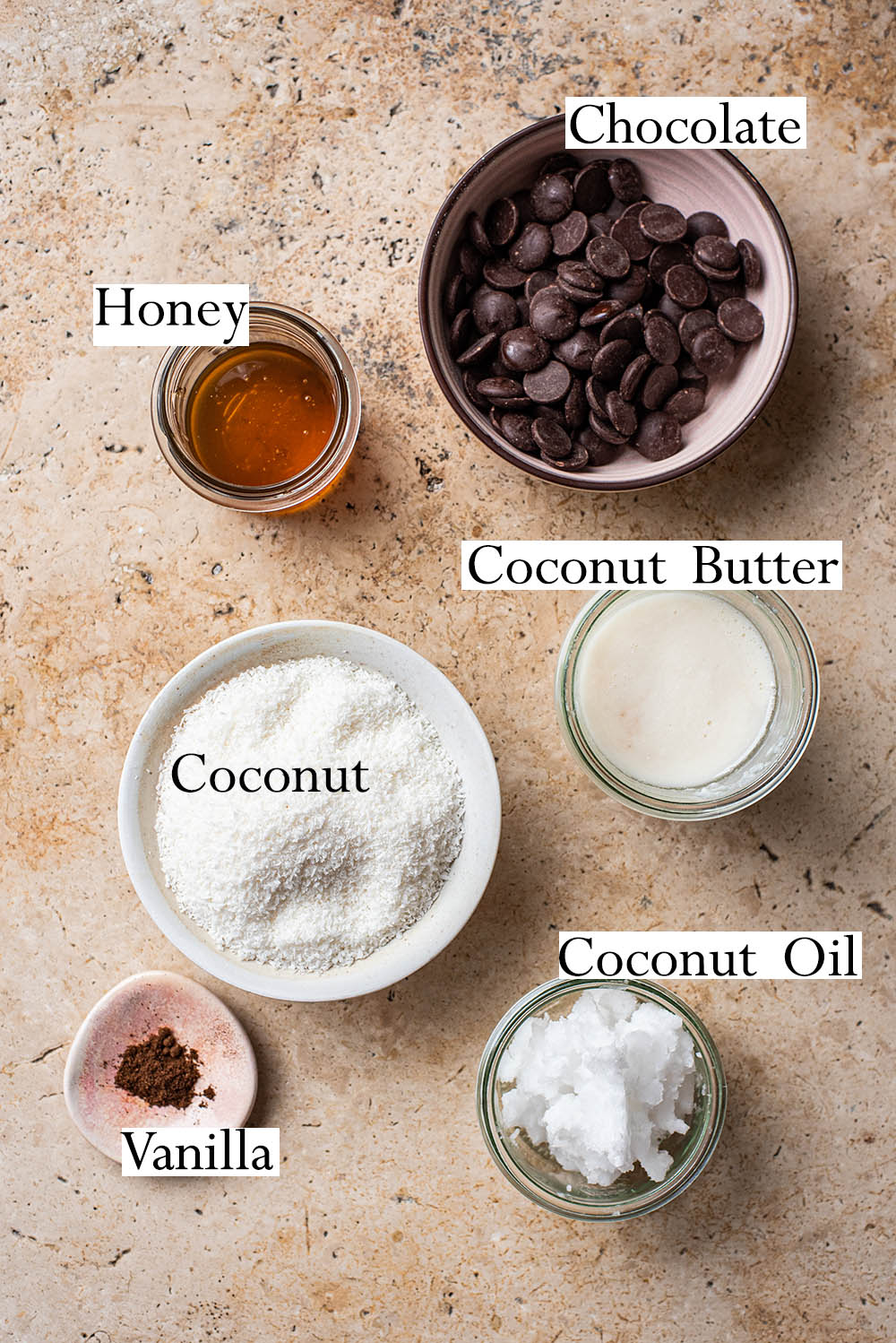 Coconut bar ingredients.